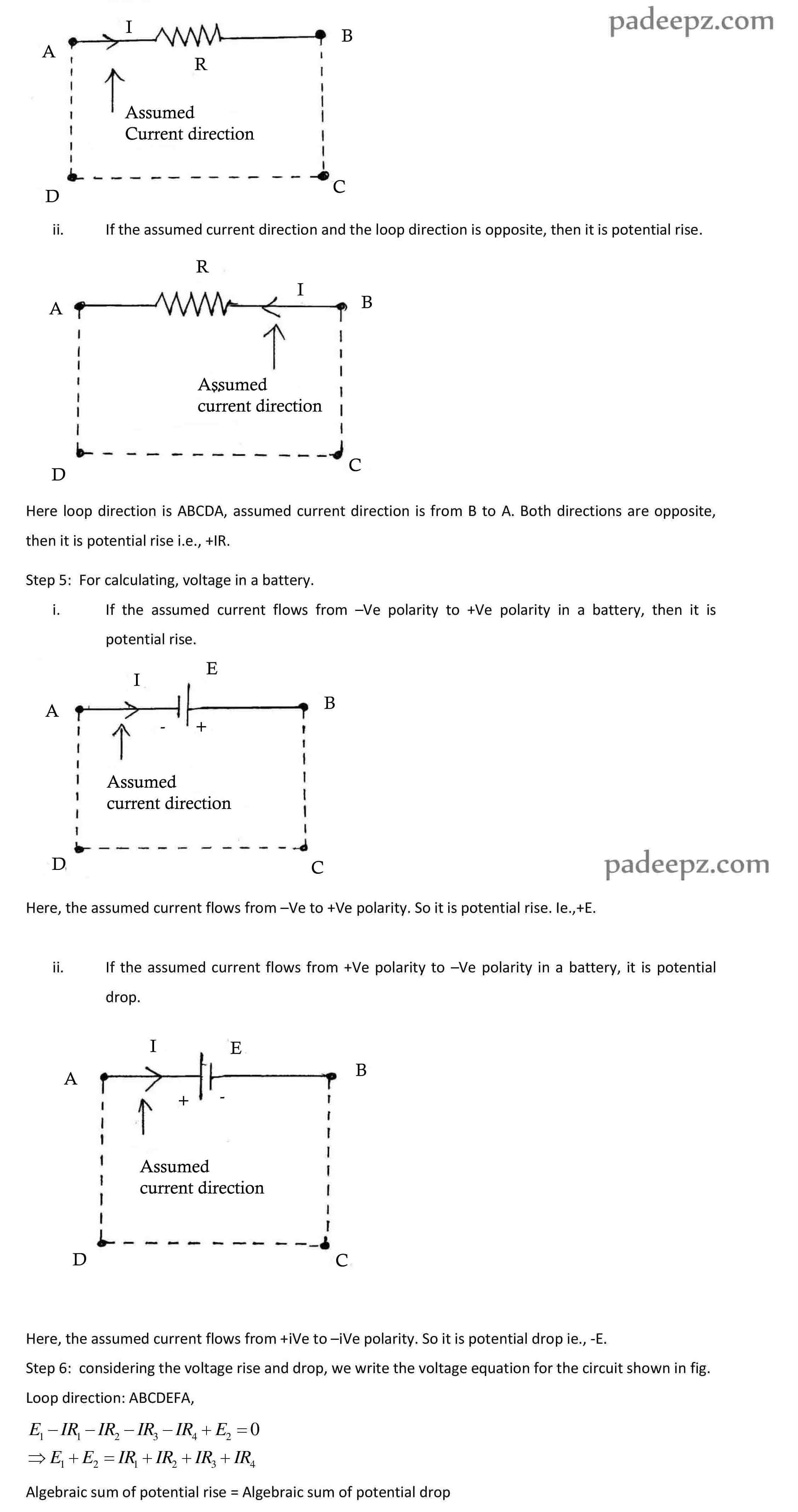 Padeepz E Learning Materials Ee6201 Circuit Theory Direction Of Current In A Loop Is Abcda Assumed From To B Both Directions Are Same Then It Potential Drop Ie Ir